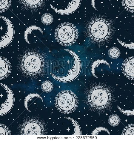 Seamless pattern with celestial bodies - moon, sun and stars over blue night sky background. Boho chic fabric print, wrapping paper or textile design hand drawn vector illustration poster
