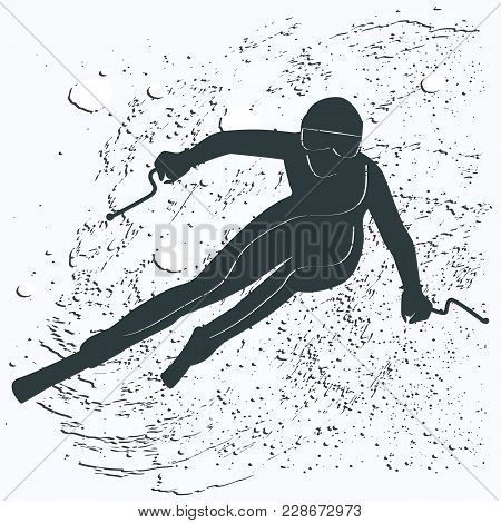 Skier Descends From The Mountains - Snowy Whirlwind In Grunge Style - Isolated On White Background -