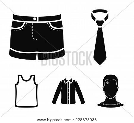 Shirt With Long Sleeves, Shorts, T-shirt, Tie.clothing Set Collection Icons In Black Style Vector Sy