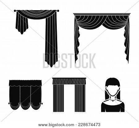 Different Types Of Window Curtains.curtains Set Collection Icons In Black Style Vector Symbol Stock
