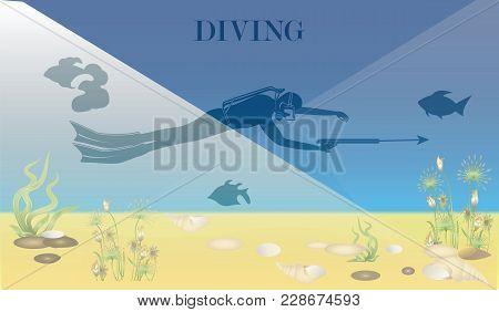 Underwater World, Seaweed, Seashells - Scuba Diver With Underwater Gun - Vector Art Illustration