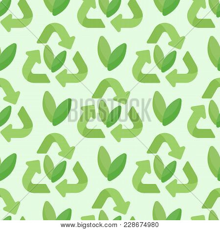 Sustainable Packaging Vector Seamless Pattern, Flat Design Of Recycling Symbol And Leaves Background
