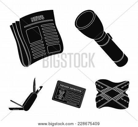 Flashlight, Newspaper With News, Certificate, Folding Knife.detective Set Collection Icons In Black