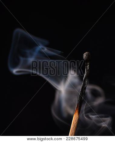 Smoke From A Burnt Match. Close Up