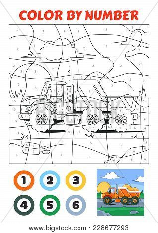 Color By Number Is An Educational Game For Children. Truck With Sand. Vector Eps10