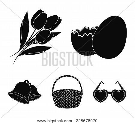 Chocolate Egg, Bells, Basket And Flowers.easter Set Collection Icons In Black Style Vector Symbol St