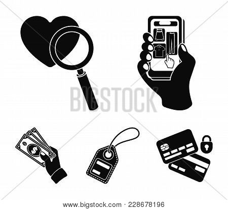 Hand, Mobile Phone, Online Store And Other Equipment. E Commerce Set Collection Icons In Black Style