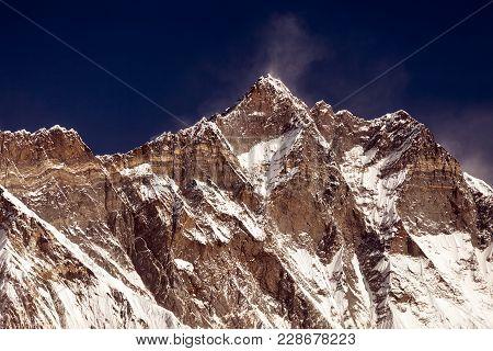Everest And Lhotse With Beautiful Clouds, Khumbu Valley, Solukhumbu, Nepal Himalayas.
