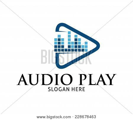 Sound Beat Wave Multimedia Play Application Vector Logo Design