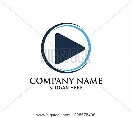 Blue Dynamic Multimedia Play Application Vector Logo Design Template