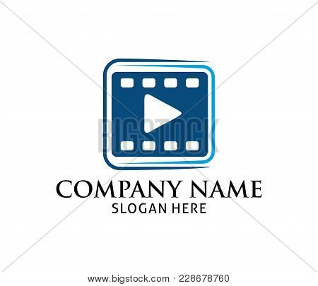 Film Strip With Multimedia Play Icon Application Vector Logo Design