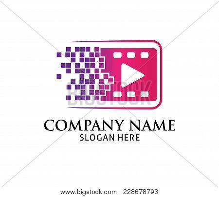 Pixel Forward Multimedia Play Application Vector Logo Design