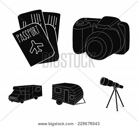 Vacation, Photo, Camera, Passport .family Holiday Set Collection Icons In Black Style Vector Symbol