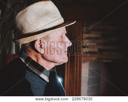 Very Old Man Portrait. Grandfather. Aged, Elderly, Loneliness, Senior With A Small Number Of Teeth.
