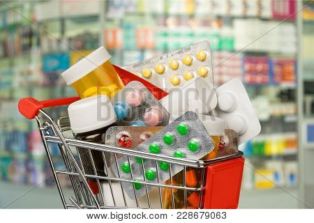 Shopping Cart Pills Color Image Red Object