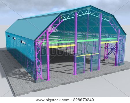 Hangar. Warehouse Building. Logistics, Delivery And Storage. 3d Rendering.