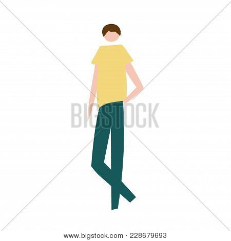 Vector Illustration Of Standing Man. Silhouette Of Guy Characters. Cartoon Flat Vector Design For Lo