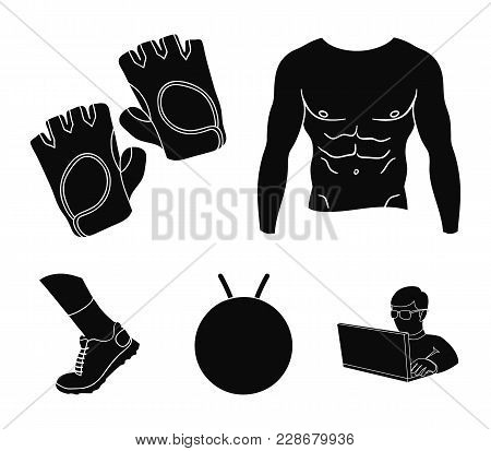 Men's Torso, Gymnastic Gloves, Jumping Ball, Sneakers. Fitnes Set Collection Icons In Black Style Ve