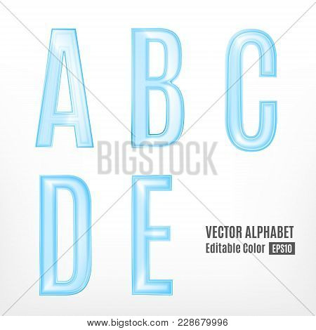 Abstract Letters Of The Alphabet With Transparency. A, B, C, D, E Letters. Editable Color. Eps10 Vec