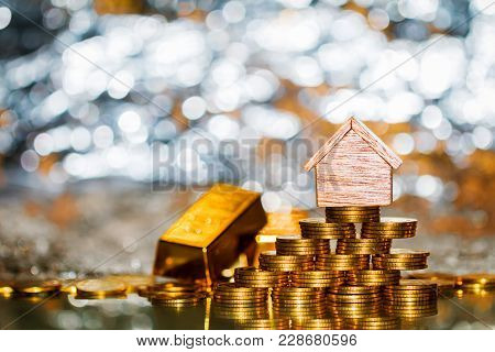 Stacking Coin Growing And Gold Bar For Destinations To Home On The Beautiful Bokeh With Background,