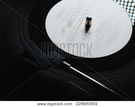 Cinemagraph, Retro Vinyl Player. Recorder On Turntable, Viewed From Above. Close-up. Pick-up Lifts O