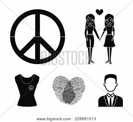 Lesbians, Fingerprints, Sign, Dress.gayset Collection Icons In Black Style Vector Symbol Stock Illus