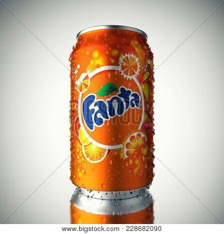 Murmansk, Russia - February 28, 2018 : Can Of Fanta Drink On Gradient Background. Fanta Is Fruit-fla