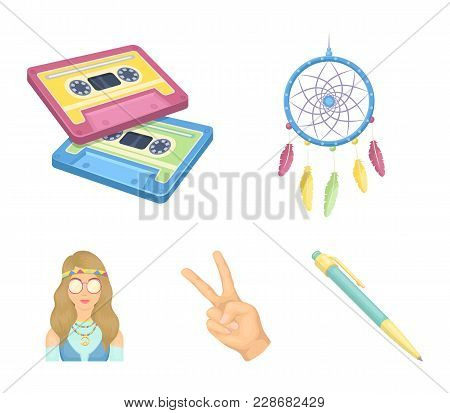 Amulet, Hippie Girl, Freedom Sign, Old Cassette.hippy Set Collection Icons In Cartoon Style Vector S