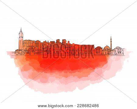 Sarajevo Colorful Landmark Banner. Beautiful Hand Drawn Vector Sketch. Travel Illustration For Socia