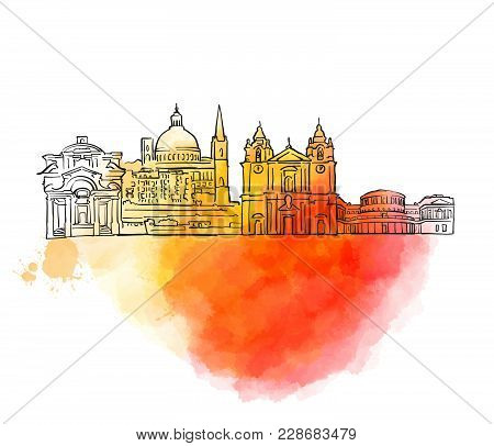 Valletta Colorful Landmark Banner. Beautiful Hand Drawn Vector Sketch. Travel Illustration For Socia