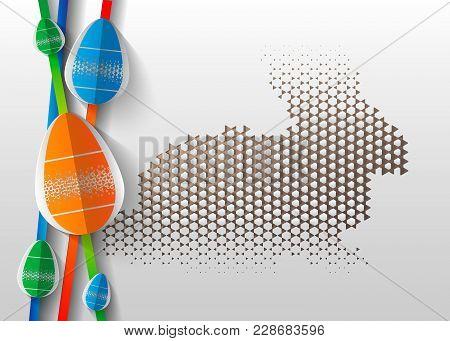 Happy Easter Greeting Card. 3d Paper Cut Easter Egg Concept Design Background. Vector Illustration.