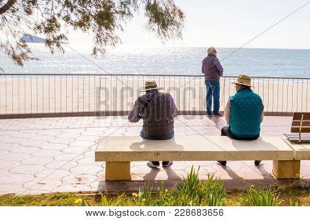 Benidorm, Spain - January 29, 2018: People Enjoying Holiday In Benidorm, Spain.