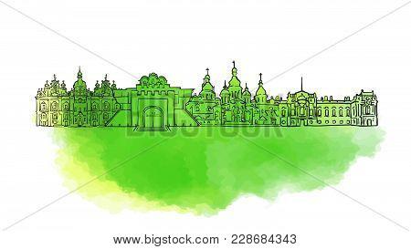 Kyiv Colorful Landmark Banner. Beautiful Hand Drawn Vector Sketch. Travel Illustration For Social Me