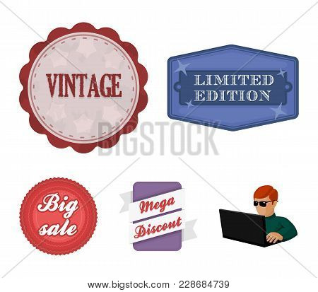 Limited Edition, Vintage, Mega Discont, Dig Sale.label, Set Collection Icons In Cartoon Style Vector