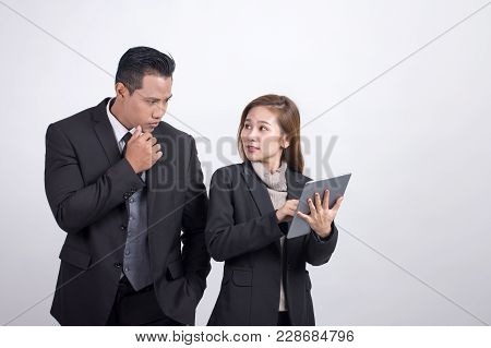 Picture Of Asians Executive Businessman And Adviser Businesswoman Discussing And Working Together Wi
