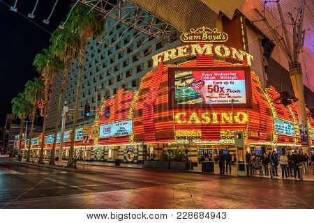 Las Vegas, Usa - January 3, 2018 : Fremont Hotel And Casino On Fremont Street With Many Neon Lights