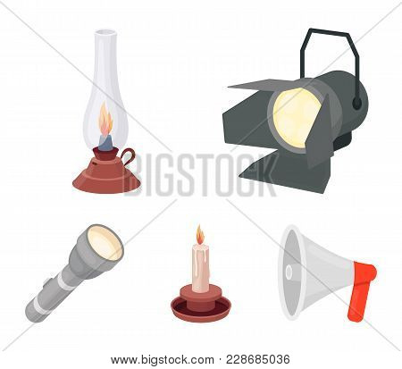 Searchlight, Kerosene Lamp, Candle, Flashlight.light Source Set Collection Icons In Cartoon Style Ve