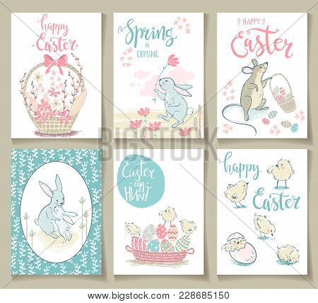 Collection Of Cute Easter Cards. Vector Illustration. Pastel Colors.
