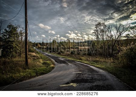 Abandoned Road Located As Part Of An Ohio Ghost Town