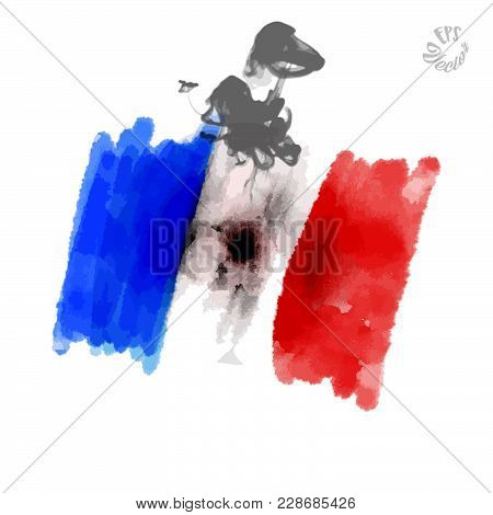 Flag Of France With Shooting Hole. Beautiful Hand Drawn Vector Sketch. Colorful Elements For Social