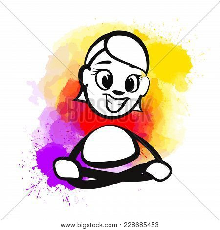 Beautiful Hand Drawn Vector Sketch. Colorful Scene For Social Media And Print Decoration.