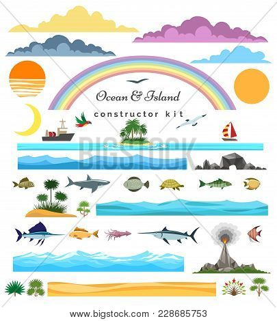 Sea Island Constructor. Ocean And Islands, Surf Beach And Seascape Creator Set Vector Illustration