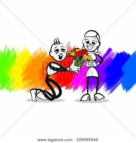 Stick Figure Invitation. Colorful Scene For Social Media And Print Decoration.