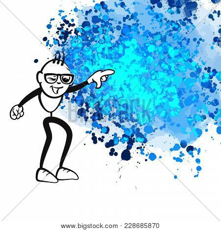 Stick Figure Pointing Chaos. Beautiful Hand Drawn Vector Sketch. Colorful Scene For Social Media And