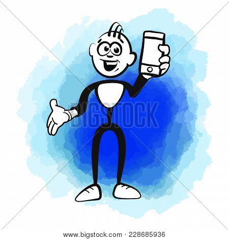 Stick Figure And Mobile Phone. Beautiful Hand Drawn Vector Sketch. Colorful Scene For Social Media A