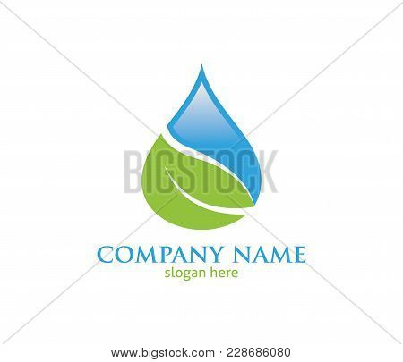 Water Drop Leaf Pure Source Vector Logo Design