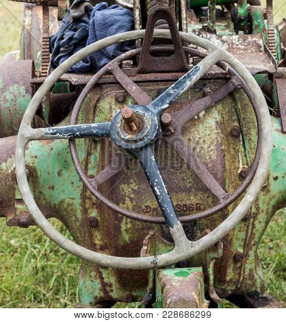 Two Old Vintage Tractor Steel Sterring Wheels,