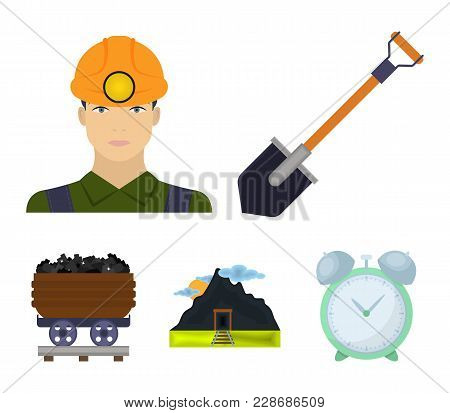 A Shovel, A Miner, An Entrance To A Mine, A Trolley With Coal.mine Set Collection Icons In Cartoon S