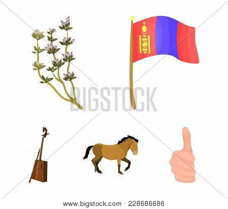National Flag, Horse, Musical Instrument, Steppe Plant. Mongolia Set Collection Icons In Cartoon Sty