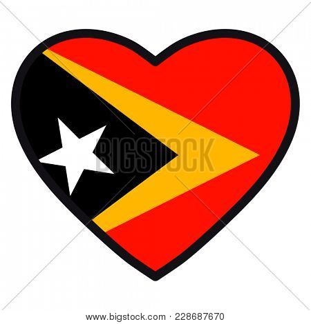 Flag of  East Timor in the shape of Heart with contrasting contour, symbol of love for his country, patriotism, icon for Independence Day.